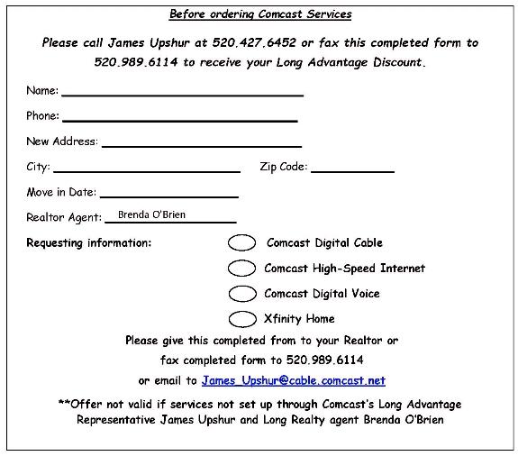 Comcast Discount Coupon Tucson/Oro Valley