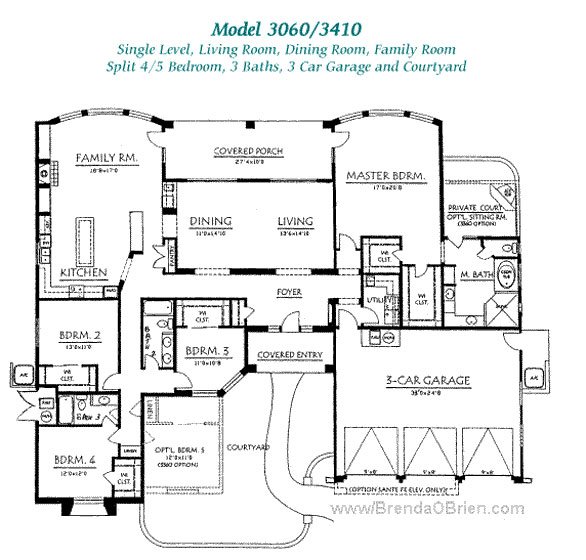 Pusch ridge vistas ii floor plan model 3060 for One story 4 bedroom house floor plans
