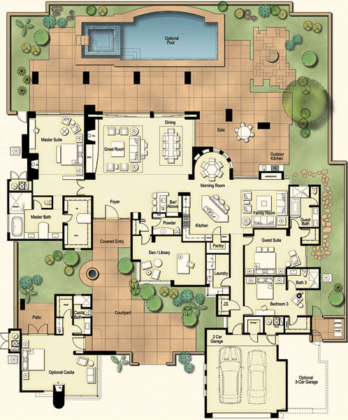 Residences at the ritz carlton tucson floor plan for Hacienda floor plans with courtyard