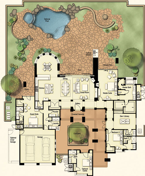 Residences at the ritz carlton tucson floor plan for Tucson house plans