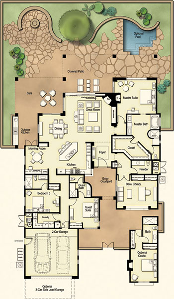 Residences at the ritz carlton tucson floor plan ranch for Floor plans for 4 bedroom ranch house