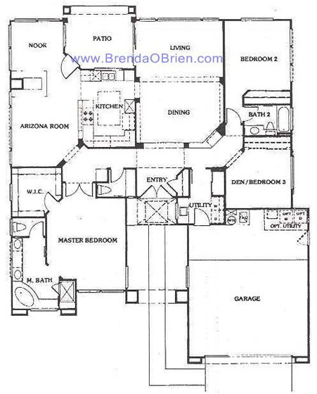 Sun city vistoso floor plan mountain view model floor plan for Mountain view floor plans